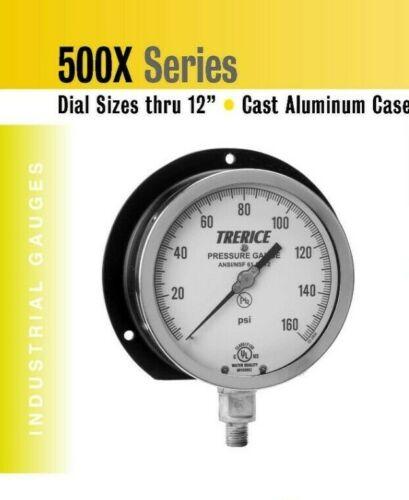 "Industrial Pressure Gauge 6/"" Dial Trerice 0-100 psi Back Connection 1//4/"" NPT"