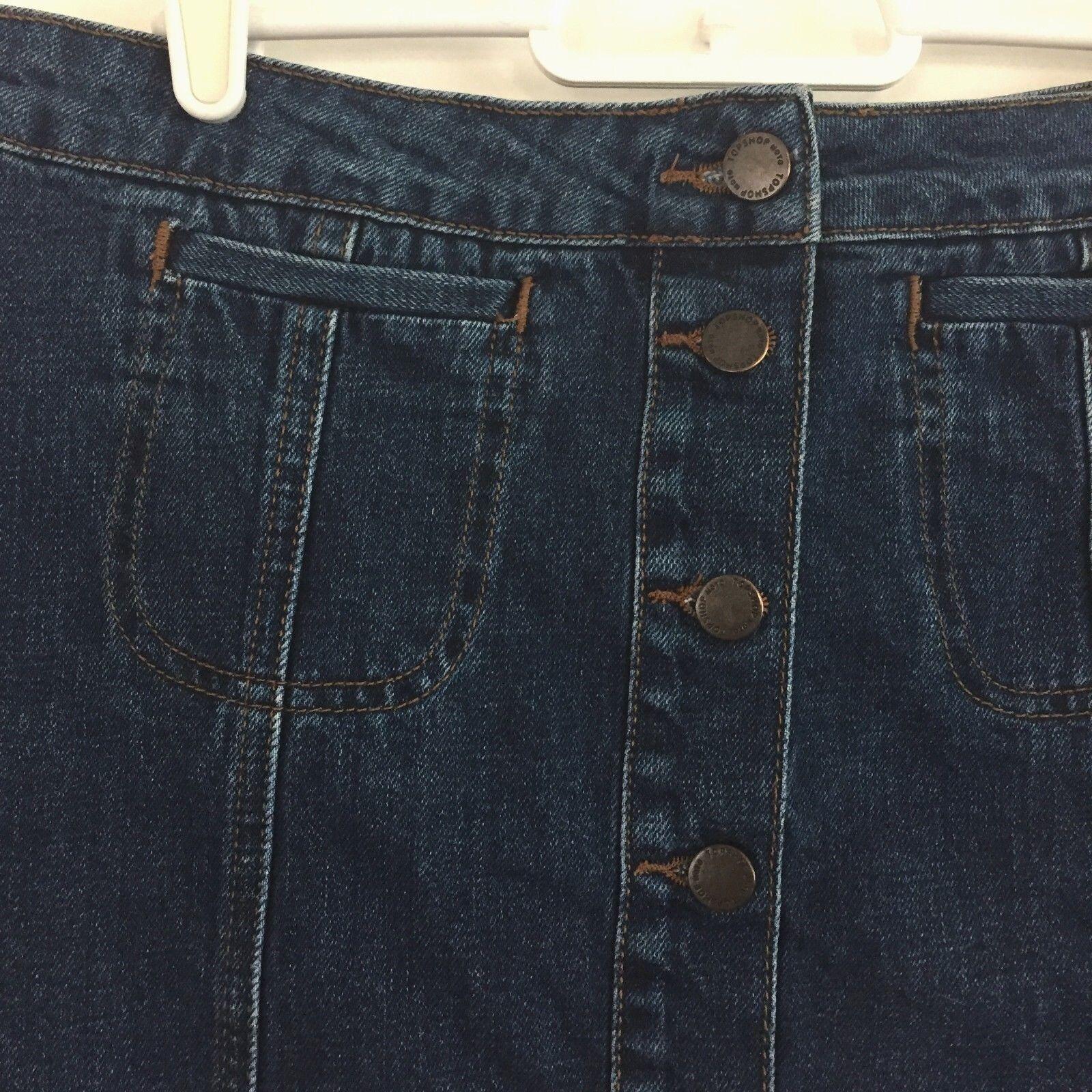 TOPSHOP Button Front Blue Denim Skirt A-Line Cott… - image 6