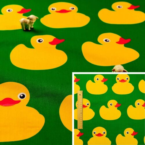 GREEN Fat Quarter//Meter//FQ100/% Cotton Craft Fabric Rubber Duck 160CM WIDE