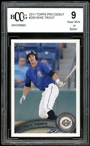 2011 Topps Pro Debut #263 Mike Trout Rookie Card BGS BCCG 9 Near Mint+