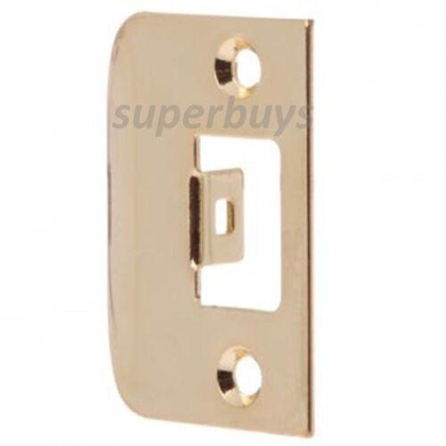 Polished Brass D Type Door Lock Latch Striker Strike Plate Panel Pad New