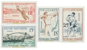 EBS-France-1958-Traditional-Sports-Games-Jeux-traditionnels-YT-1161-1164-MNH
