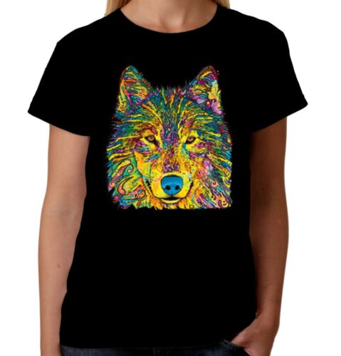 Velocitee Ladies T-Shirt Psychedelic Colourful Wolf Neon American Fashion A20143