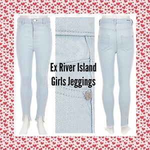 0806f0cc947deb ex- River Island GIRLS Light Blue High Waisted Molly Jeggings-Horse ...