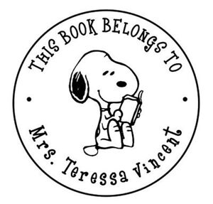 Details about This Book Belongs to / Name Round Designer Snoopy Logo Custom  Self ink Stamp