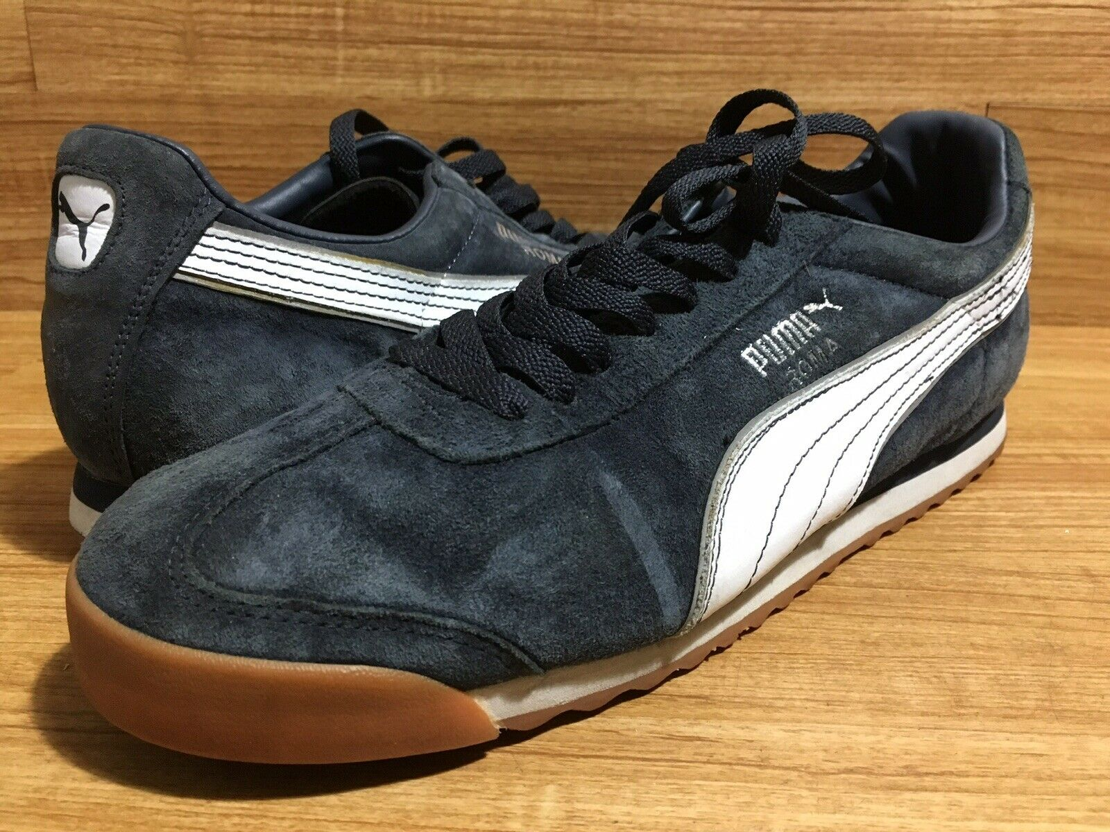 Puma Roma Sz 10.5 Navy bluee Suede Leather Fashion Sneaker EUC 44 EU