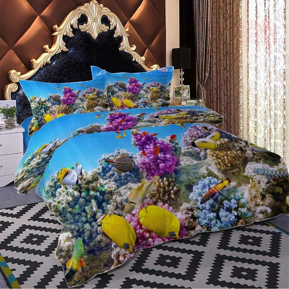 lila Coral Bugs 3D Druckening Duvet Quilt Will Startseites Pillow Case Bettding Sets