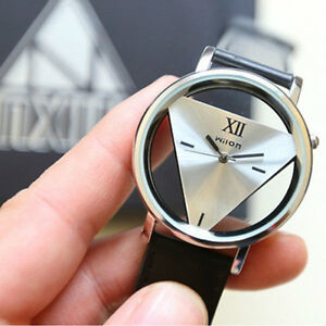 1Pc Leather Band Stainless Steel Sport Analog Quartz Women/Men Wrist Watch
