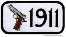 1911 PISTOL PATCH iron-on embroidered GUN 2nd AMENDMENT SEMI-AUTOMATIC - WHITE