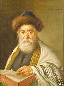 VINTAGE JEWISH RABBI GOLD TALLIS *CANVAS* JUDAICA ART
