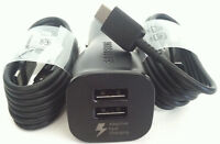 Black Samsung Dual Fast Car Charger +2 Usb-c Cable For Galaxy S8 Nexus 5/6 Lg G5