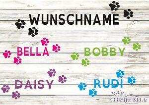 Pfoten-Katze-Hund-Name-AUTOAUFKLEBER-Tatzen-Tiere-Wunschname-Sticker-Tuning