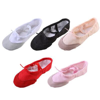 WALUCAN Ballet Slippers Canvas Dance Shoes for Girls Gymnastics Yoga Flats