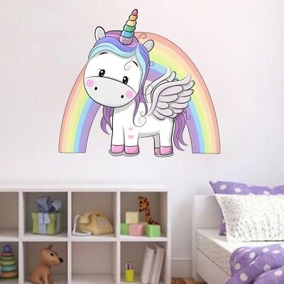 Unicorn Rainbow Wall Sticker Fantasy Girls Bedroom Wall Art Cute Nursary  Decal | eBay