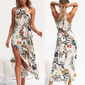 Womens-Halter-Neck-Floral-Midi-Dress-Ladies-Summer-Holiday-Party-Beach-Sundress
