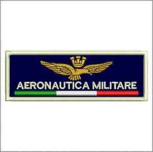 Patch-AERONAUTICA-MILITARE-fondo-navy-cm-9-x-3-toppa-ricamo-REPLICA-248navy