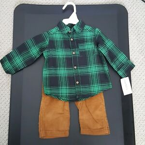 4941072dfe8 NWT Carter s Green Flannel Shirt Corduroy Pants 2 piece outfit 6M