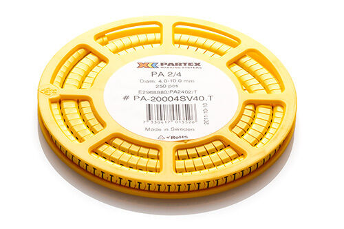 Partex PA2 Size D Disc of 250 Black Text on Yellow Marker Cable Marker