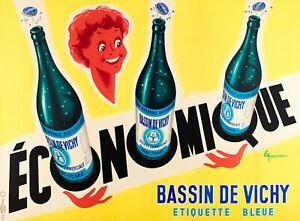 Affiche-Originale-G-Nicolitch-Bassin-de-Vichy-St-Yorre-Eau-Mineral-1953