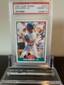 1989-Score-Traded-100T-Ken-Griffey-Jr-Seattle-Mariners-RC-Rookie-HOF-PSA-10
