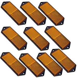 Amber Large Rectangular Side Réflecteur Pack Of 10 Remorques Fence Gate Post Tr06-afficher Le Titre D'origine
