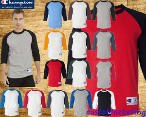 771fab25 Image is loading Champion-Raglan-Baseball-T-Shirt-Sweater-All-Colors-