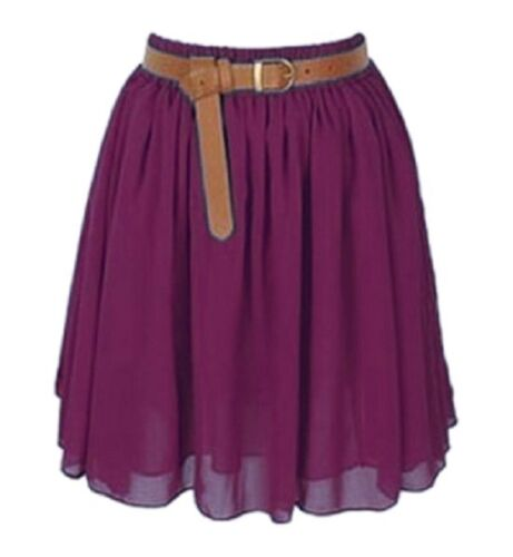SalmonWomen Lady Chiffon Pleated Mini Skirt Retro High Waist S-3XL25 Color