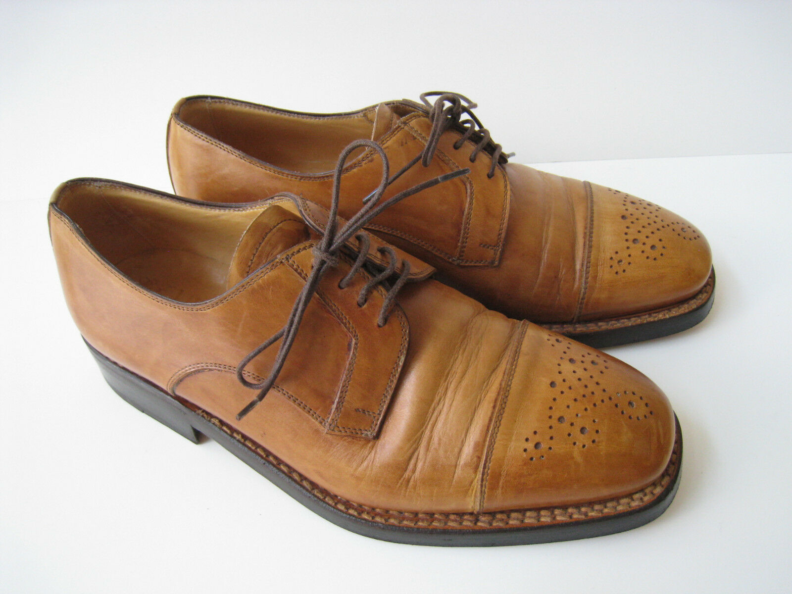 LIDFORT TAN LEATHER BROGUE CAP TOE OXFORD MEN SIZE US 7.5  MADE IN ITALY HOT