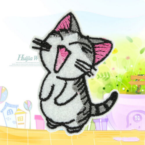 2X Sweet Twin Cat DIY Embroidery Cloth Iron On Patch Sew Motif Applique Chic YJU