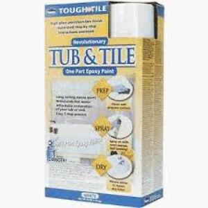 720771 tough as tile tub tile epoxy paint spray on finish kit white. Black Bedroom Furniture Sets. Home Design Ideas