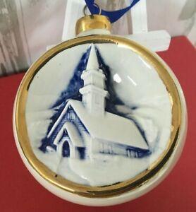 Vintage Duncan Ceramic Christmas Ball Ornament Blue White Winter Church Scene Ebay