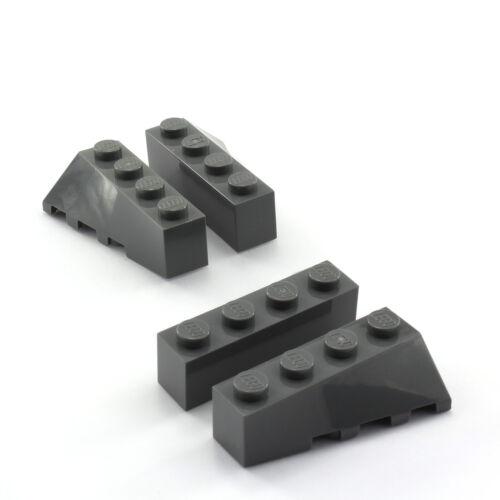 wedge sloped 43721 : 2 Paar Flügelsteine 4x2 dunkelgrau LEGO 43720 NEU