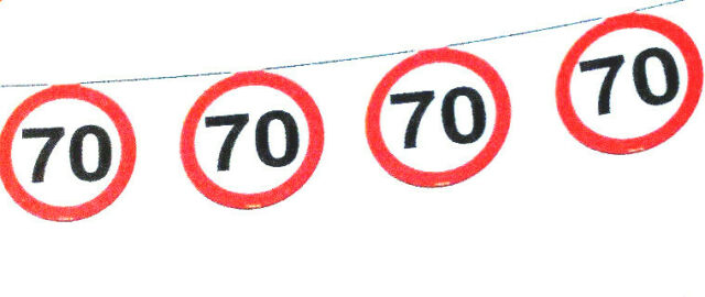 "Luftschlangen /""70/"" in Verkehrsschild Optik Dekoration Geburtstag Party"