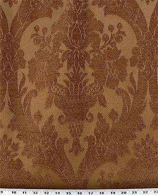 Copper Drapery Upholstery Fabric Chenille Jacquard Damask Floral Design
