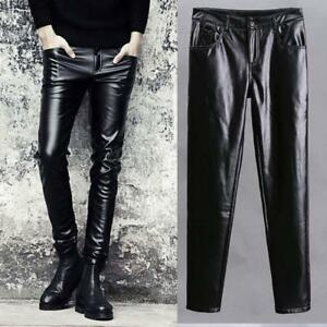 Men-039-s-Punk-Faux-Leather-Black-Pants-Skinny-Motorcycle-Trousers-New-Fashion-Size