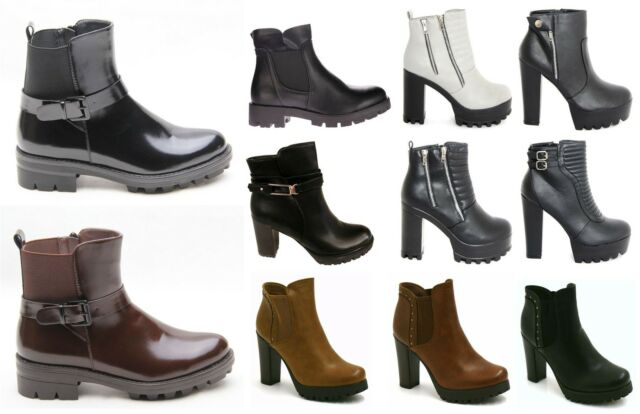 NEW WOMENS LADIES CLEATED BLOCK HIGH HEEL ZIP CHUNKY ANKLE BOOTS SHOES