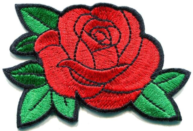 Red Rose Tattoo Love Embroidery Diy Embroidered Applique Iron On Patch S 1594