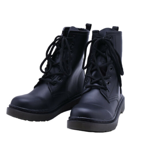 LADIES WOMEN ANKLE BOOTS COMBAT ARMY MILITARY BIKER FLAT LACE UP WORK SHOES SIZE