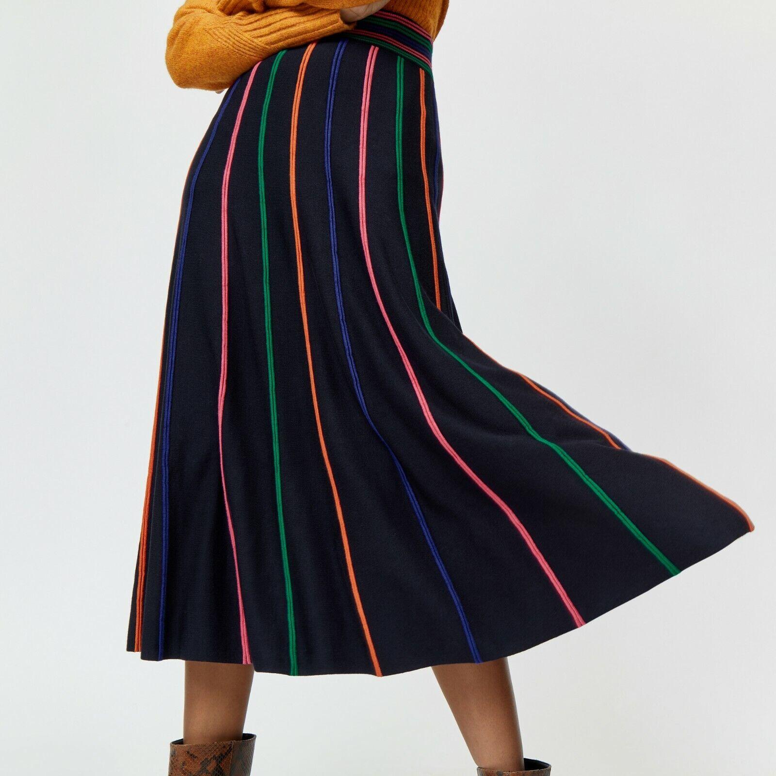Warehouse Jupe Midi Noir Rainbow Stripe Knit Sz 10 nouveau
