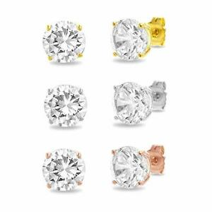 Sterling-Silver-Diamonique-CZ-Basket-Round-Stud-Earrings-in-All-Carat-Sizes-925