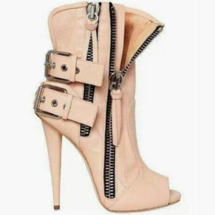 Sandali Gladiatore Da Donna Tacco Alto Punta Aperta Fibbia Cerniera Stiletto Scarpe con cinturino