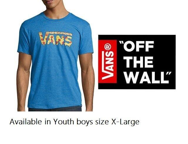 efc6c3a1 VANS Boys X-large Only Pizza Logo T-shirt in Blue Cotton Blend