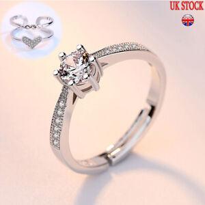 GENUINE 925 Sterling Silver Wedding Engagement Ring Set UK Seller