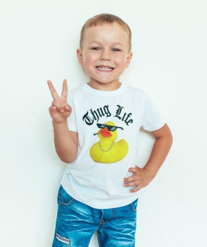 Bambini T-Shirt a Manica Corta Top THUG Life Anatra NUOVO divertente Ragazzi