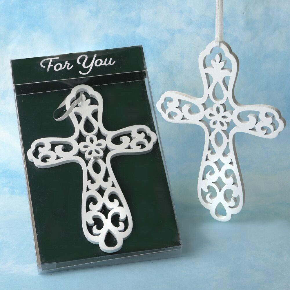 30 Heaven Sent Weiß Wood Cross Ornament Baptisms Communion Religious Favors