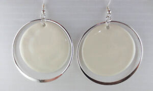 Details About Dangling Silvertone White Enamel Double Graduated Hoop Large Earrings