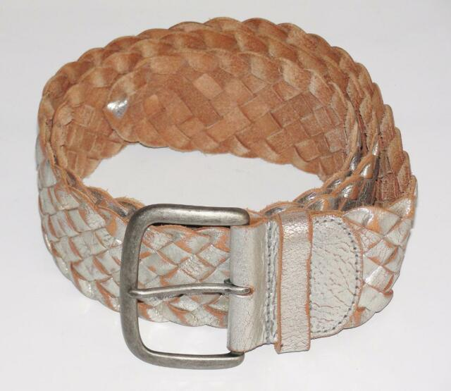 FOSSIIL~LEATHER~DISTRESSED METALLIC SILVER~HIPPIE BOHEMIAN WOVEN BRAIDED BELT~L