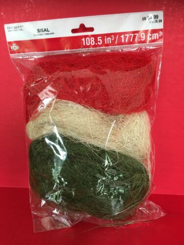 Christmas Sisal Naturals Celebrate It Crafts Red//Cream//Green New