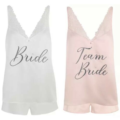 WEDDING PYJAMA SET Bride Team Bride Hen Party George Shorts Top Lace Glitter