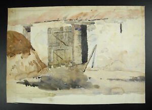 Courtyard-Farm-Drawing-in-Watercolour-Draw-Watercolor-Anonymous-Farmyard